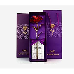 JaipurCrafts Webelkart 24K Red Gold Rose 10 Inches With Gift Box - Best Gift For Loves Ones, Valentine'S Day, Mother'S Day, Anniversary, Birthday 2