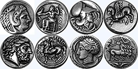 Greek Mythology, Alexander the Great/Zeus 1S, Athena/Pegasus 2S, Zeus/Horse 4S, Arethusa/Quad 5S, Greek Gods & Goddesses Coin Collection,Most Famous Greek Coins, SET 1 of 4 Different - Silver Horse Coin Set