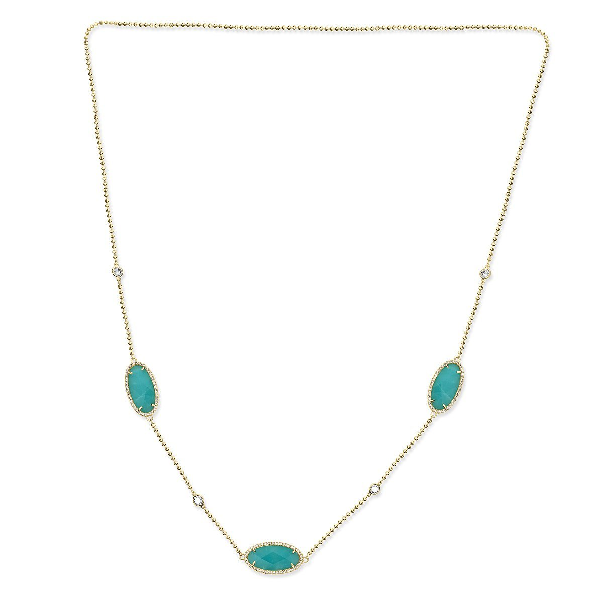 Gold Plated Sterling Silver Amazonite Cubic Zirconia Necklace