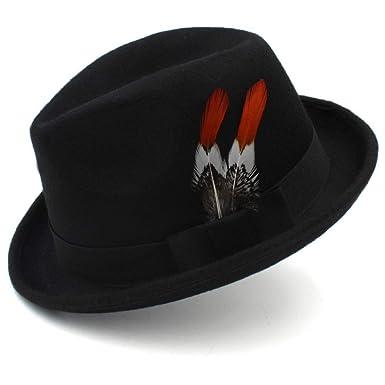 67fa0d015b3 ZITEZHAI-hat Men s Top Small Hat Top British Retro Feather Jazz Hat Men and  Women
