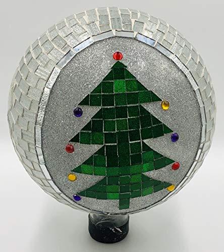 (Very Cool Stuff VCS GLMCT102 Mosaic Glass Gazing Ball, Christmas Tree, 10-Inch)