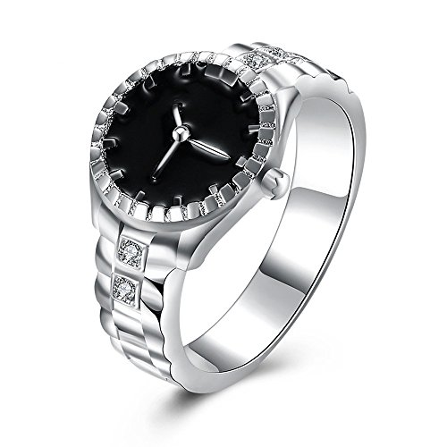 Tidoo Jewelry Vintage New Fashion Creative Ring Silver Plated Cubic Zirconia Watch Ring Party/Wedding Jewelry For Women from TIDOO