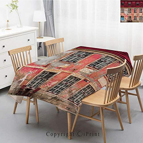 Print Series Rectangle Tablecloth Cotton and Linen Dust proof Absorption Table Cover for Photography Background Dining,55x79 Inch,Urban,Old Aged Building in Ancient City Tallinn Estonia Antique ()