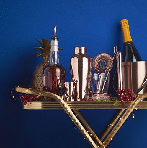 -[ VonShef Copper Cocktail Shaker Set Parisian 9 piece in Gift Box with Recipe Guide & Accessor