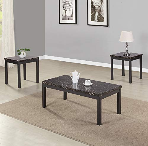 (3 Piece Coffee End Table Set with Faux Marble Table Top and Metal Legs Accent Table Sets Living Room Furniture Set)