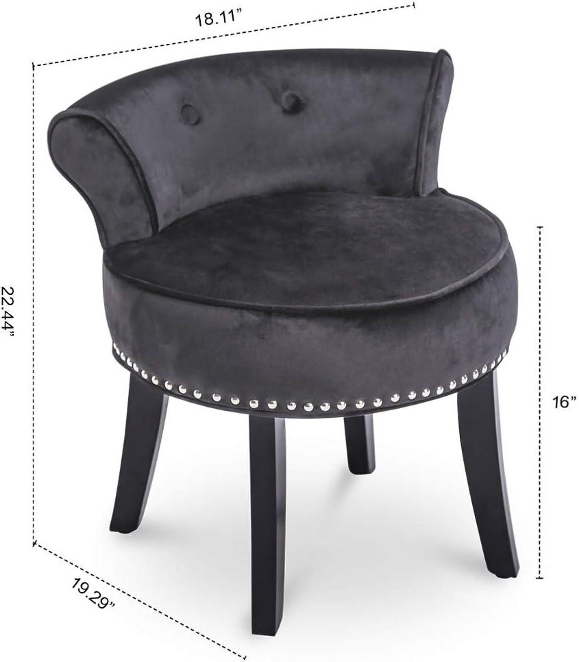 Ice Velvet Dressing Table Chair Vanity Stool Black Legs Bedroom Room Corner Seat