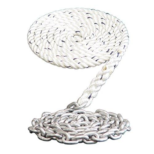 Windlass Anchor Rode- 9/16 3 Strand Nylon Spliced to 15' - 5/16 Galvanized Chain (400') (Lines Strand Three Anchor)