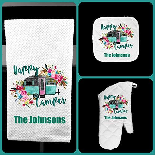 Happy Camper Oven Mitt Pot Holder Towel Gift Set Personalized, Gifts for Mom, Housewarming Gift, Hostess Gift, Wedding, Custom Kitchen Set