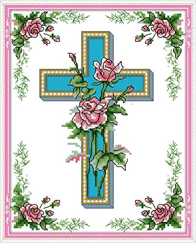 Cross Stitch Counted Kits Cross-Stitching Pattern for Home Decor, 14CT White Fabric Embroidery Crafts Needlepoint Kit Four Cross Rosa Crux -