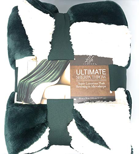 """Life Comfort Microfiber Plush Polyester 60""""x70"""" Large All Season Blanket for Bed or Couch Ultimate Sherpa Throw, Blue Green"""