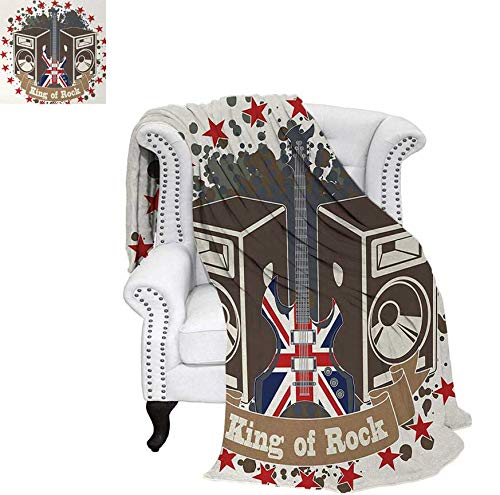 Summer Quilt Comforter King Rock Label with Speakers Stars and Electric Guitar with British Flag Digital Printing Blanket 60