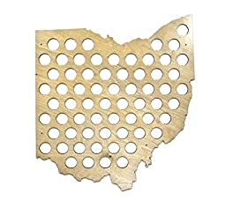All 50 States Beer Cap Maps - Ohio Beer Cap Map OH - Glossy Wood - Skyline Workshop