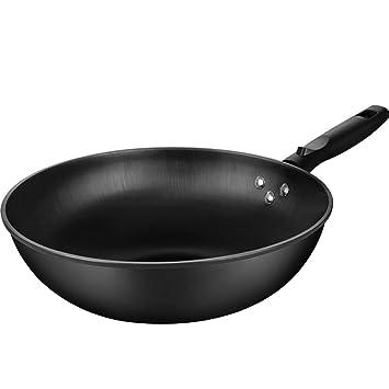 LZ Sartenes Wok de Hierro y Acero al Carbono Sartenes para Cocina de ...