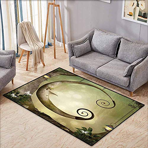 - Classroom Rug,Cartoon Forest Secret Swing Old Tree Curly Half Moon Shaped Lamps Butterflies Print,Large Area mat,4'7