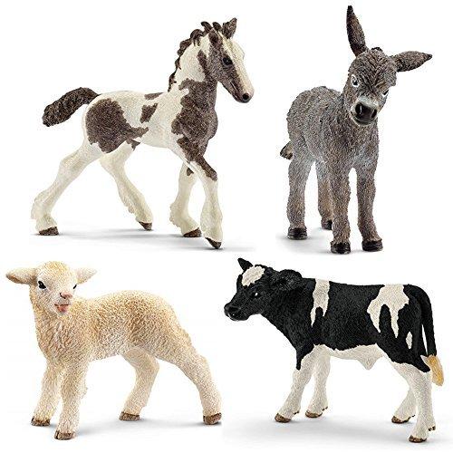 Schleich Animals Set - 4 Farm Babies - Donkey Foal, Lamb, Tinker Foal, Holstein Calf