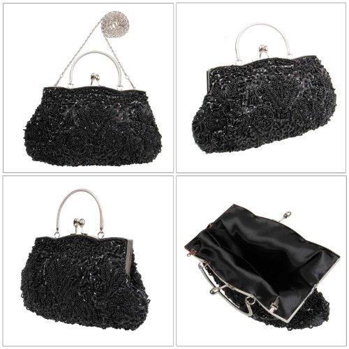 BMC Black Beaded Sequin Design Metal Frame Kissing Lock Clasp Satin Interior Evening Clutch - Exuding Eloquences Collection