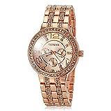Habors Geneva Rhinestone Studded Watch With Rose Gold Band (Valentine Gift)