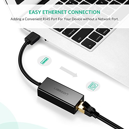 UGREEN Ethernet Adapter USB 2.0 to 10/100 Network RJ45 Lan Wired Adapter for Nintendo Switch, Wii, Wii U, Macbook, Chromebook, Windows 10, 8.1, Mac OS, Surface Pro, Linux ASIX AX88772 Chipset (Black) by UGREEN (Image #1)