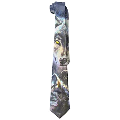 HenSLK Moon Wolves Mens Classic Polyester Silk Tie Necktie