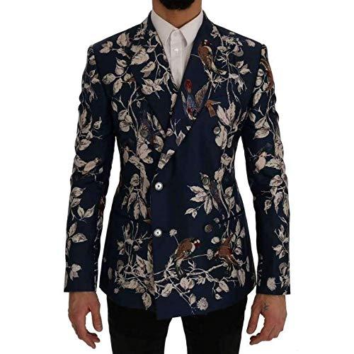 Dolce & Gabbana Blue Bird Print Silk Slim Fit Blazer -