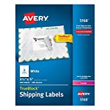 Avery Shipping Labels with TrueBlock Technology for Laser Printers, 3-1/2'' x 5'', Box of 400, Case Pack of 5 (5168)