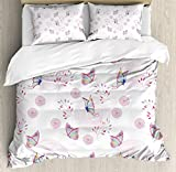 Butterflies Decorations Duvet Cover Set by Ambesonne, Butterflies and Branches Romantic Spring Retro Faith Optimism Change Fly Theme, 3 Piece Bedding Set with Pillow Shams, King Size, Pink White
