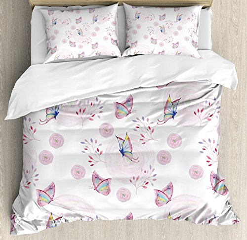 Butterflies Decorations Duvet Cover Set by Ambesonne, Butterflies and Branches Romantic Spring Retro Faith Optimism Change Fly Theme, 3 Piece Bedding Set with Pillow Shams, King Size, Pink White by Ambesonne