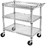 Seville Classics 3-Shelf Heavy-Duty Commercial Utility Cart - UltraZinc