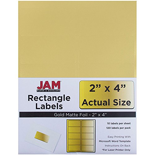 JAM PAPER Shipping Address Labels - Standard Mailing - 2 x 4 - Gold Metallic - (Foil Address Labels)