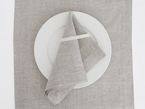 (Table Napkins White Natural Linen - Set of 4 pcs - 15x18 Herringbone Cloth Dining Placemat Handcrafted with Love)