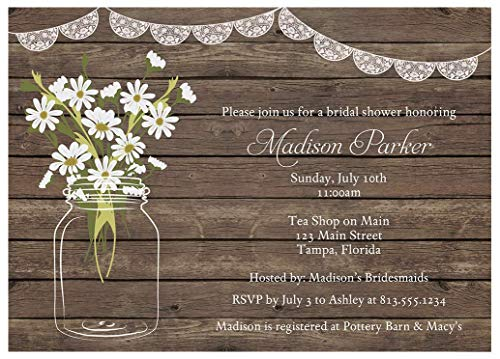 Rustic Wood Bridal Shower Invitations Mason Jar Wedding Party Invites Daisy Doilies Barn Hipster Lacey Baby's Breath Flowers Brown White (10 Count)