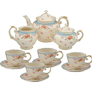 Gracie China by Coastline Imports Vintage Blue Rose Porcelain 11-Piece Tea Set, Blue