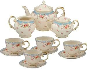 Gracie China Vintage Porcelain 11-Piece Tea Set Tea Set Blue