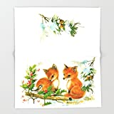 Society6 Vintage dream- little Winterfoxes in snowy forest Throw Blankets 88'' x 104'' Blanket