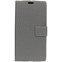 Case for Alcatel A3 [PU Leather], BasicStock Woven Stand Function Magnetic Closure Wallet Case with Money and Card Slots Flip Cover Screen Protector for Alcatel A3 (Grey)