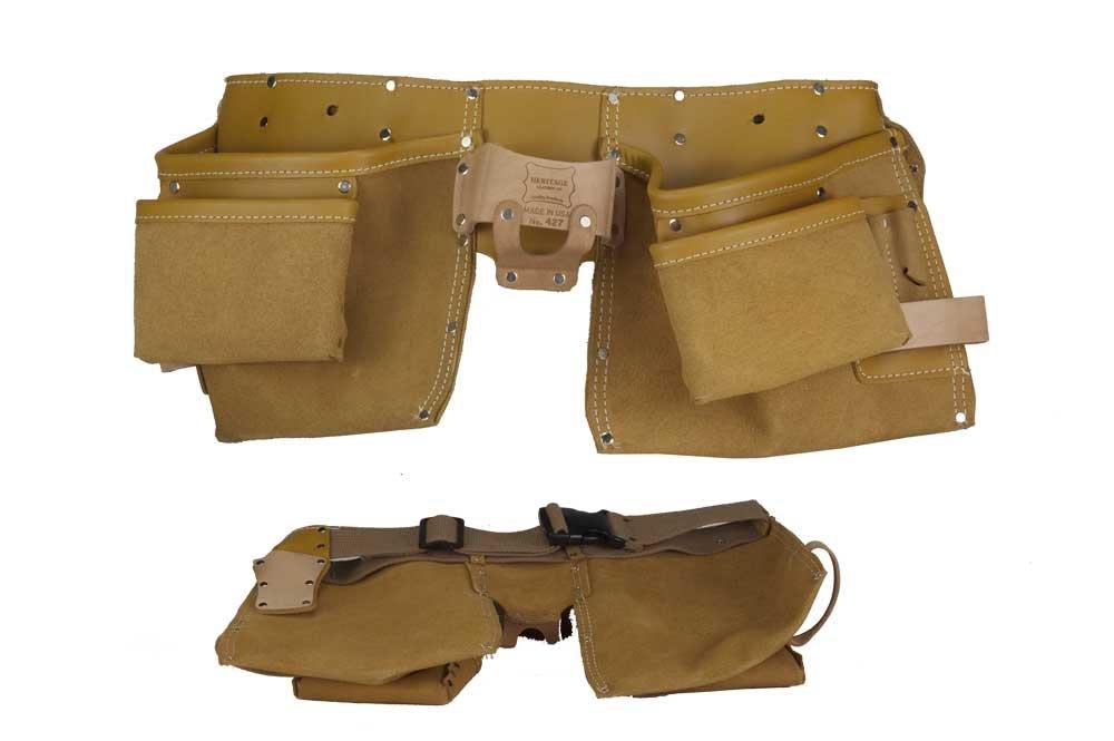 Heritage Leather 427 Ceinture de charpentier en cuir de surface de qualité supérieure 11 poches