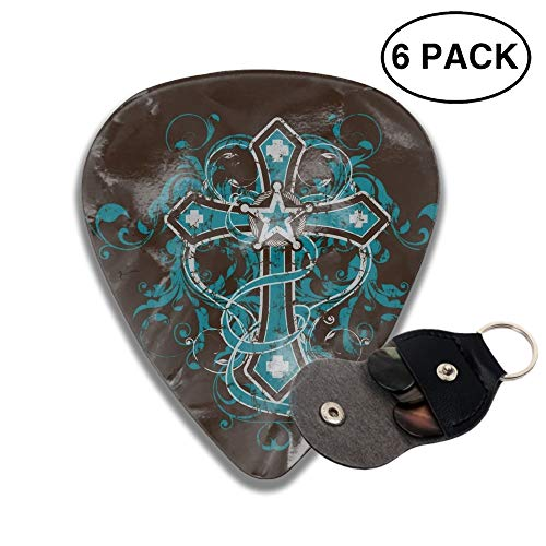 Engraving Western (Western Cross Celluloid Guitar Picks 6 Pack Includes Thin, Medium & Heavy Gauges)