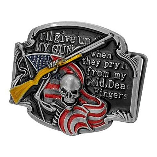 Pancy I'll Never Give Up Belt Buckle Gun Rights Shotgun Skeleton Flag Belt Buckle (Belt Gun Buckle)