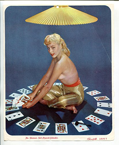 (CARD GAME PIN-UP CALENDAR PRINT-08/1957-EXCITING BLONDE-OVERSIZED POKER DECK-vg)