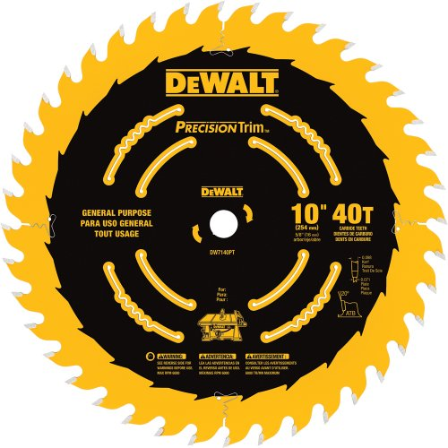 (DEWALT DW7140PT 10-Inch 40 Tooth ATB Ripping and Crosscutting Saw Blade with 5/8-Inch Arbor and Tough Coat Finish)