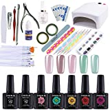 Coscelia 36W Nail Dryer UV Lamp 5 Colors Soak Off Gel Nail Polish Base Top Coat Remover Files Nail Art Kits Manicure Set