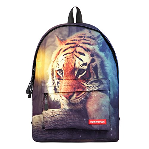 Tiger Backpack - Runningtiger Unique 3D Animal Print Basic Multipurpose Backpacks For Teenagers Kids Schoolbags Travel Bags Laptop Backpacks (tiger print)