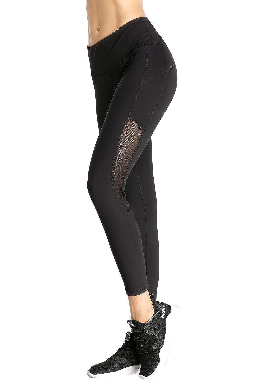 Black Mesh Side Marina Threads Womens Yoga Pants Sports Leggings Running Capris Gym Tights