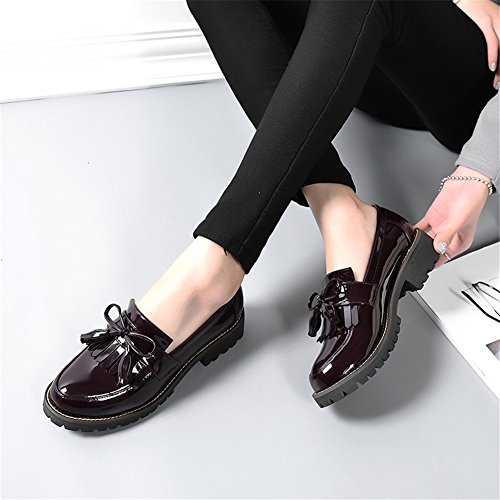 LANSHULAN Womens Juniors Slip On Tassels Enamel Leather Oxfords Shoes Flats Plus Size 34-42 Wine Red zZcBPGXxw