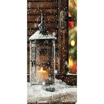 Textilbanner Thema Weihnachten Laterne Im Schnee 180cmx90cm
