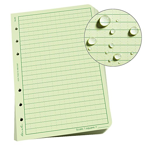 Rite in the Rain Weatherproof Loose Leaf Paper, 4 5/8'' x 7'', 32# Green, Universal Pattern, 100 Sheet Pack (No. 982) by J.L. Darling - Rite in the Rain
