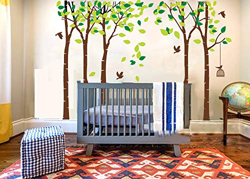 LUCKKYY Large Five Trees Wall Stickers Forest Mural Paper Bedroom Kid Baby Nursery Room Removable Decals (Paint Sky Mural)