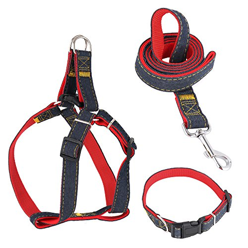 CANSHOW Dog Leash Harness Collar Set, Adjustable Durable Denim, Perfect for Small, Medium and Large Dogs Daily Training Walking Running