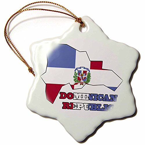 3dRose orn_58772_1 The Flag of The Dominican Republic in The Map Outline and Words Dominican Republic Snowflake Decorative Hanging Ornament, Porcelain, 3-Inch