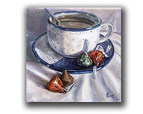 Coffee Still Life Print, Polish Pottery Mug Giclee Print, Kitchen Wall Decor, size mat option